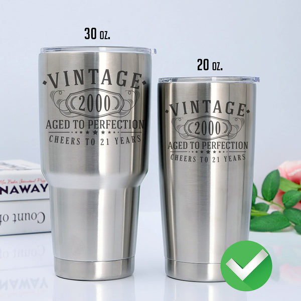 Vintage 2000 Etched 20oz Stainless Steel Insulated Vacuum Sealed Tumbler - 21st Birthday Aged to Perfection - 21 years old gifts