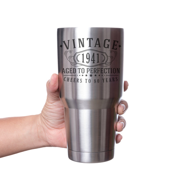 Vintage 1941 Etched 30oz Stainless Steel Insulated Vacuum Sealed Tumbler - 80th Birthday Aged to Perfection - 80 years old gifts