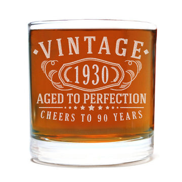 Vintage 1930 Etched 11oz Whiskey Rocks Glass - 90th Birthday Aged to Perfection - 90 years old gifts Bourbon Scotch Lowball Old Fashioned