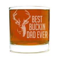 Best Buckin Dad Ever Etched Whiskey Glass 11oz