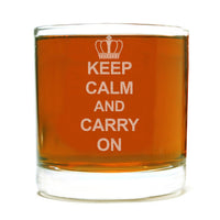 Keep Calm and Carry On Etched Whiskey Rocks Lowball Glass
