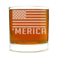 'Merica Etched Whiskey Glass 11oz