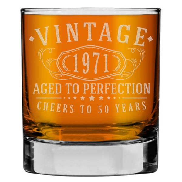 Vintage 1971 Etched 10.25oz Whiskey Rocks Glass -50th Birthday Aged to Perfection - 50 years old gifts Bourbon Scotch Lowball Old Fashioned