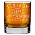 Personalized Vintage Etched 10.25oz Whiskey Rocks Glass - Birthday Aged to Perfection - Custom Bourbon Scotch Lowball Old Fashioned