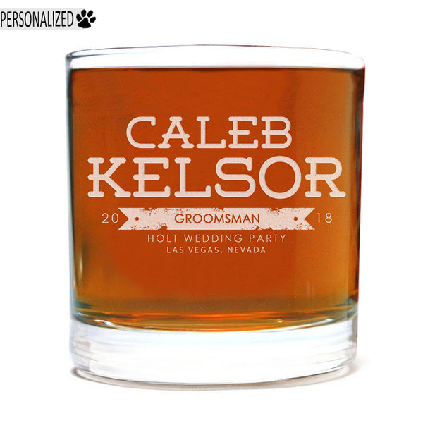 Kelsor Personalized Etched Whiskey Rocks Glass 11oz