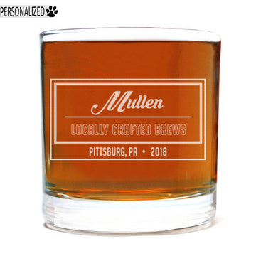 Mullen Personalized Etched Whiskey Rocks Glass 11oz