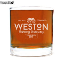 Weston Personalized Etched Whiskey Rocks Glass 11oz