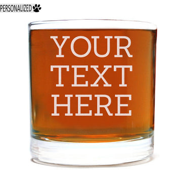 Your Custom Text Personalized Etched Whiskey Rocks Lowball Glass 11oz