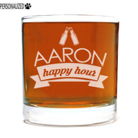 Aaron Personalized Etched Whiskey Rocks Glass 11oz