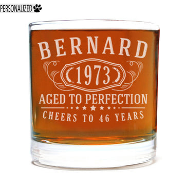Bernard Personalized Etched Whiskey Rocks Glass 11oz