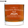 Brandon Personalized Etched Whiskey Rocks Glass 11oz