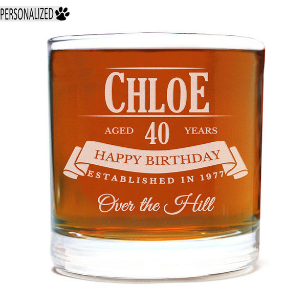 Chloe Personalized Etched Whiskey Rocks Glass 11oz