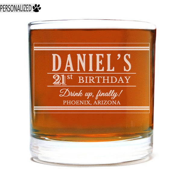 Daniel Personalized Etched Whiskey Rocks Glass 11oz