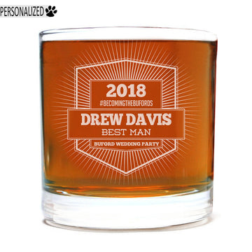 Davis Personalized Etched Whiskey Rocks Glass 11oz