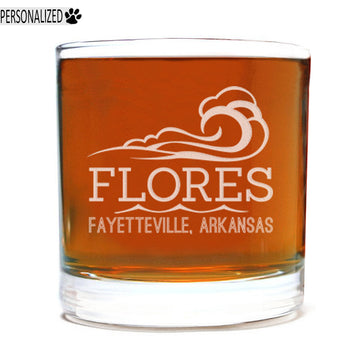 Flores Personalized Etched Whiskey Rocks Glass 11oz
