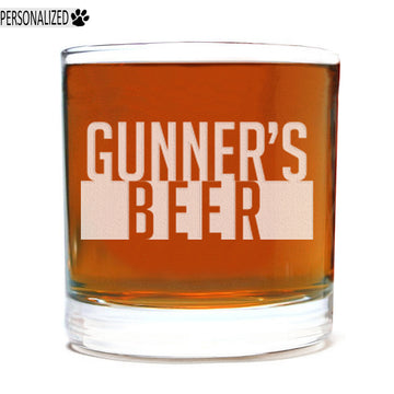 Gunner Personalized Etched Whiskey Rocks Glass 11oz