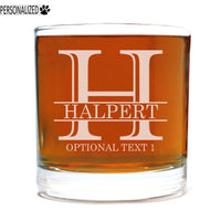 Halpert Personalized Etched Whiskey Rocks Glass 11oz