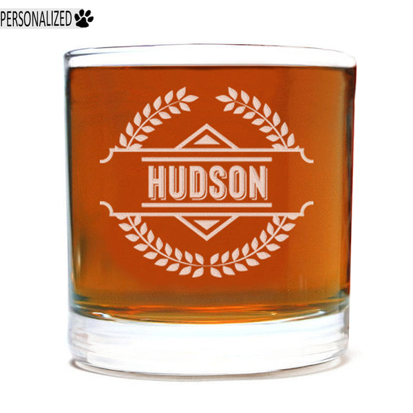 Hudson Personalized Etched Whiskey Rocks Glass 11oz