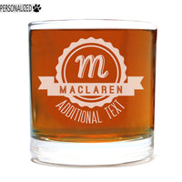 Maclaren Personalized Etched Whiskey Rocks Glass 11oz