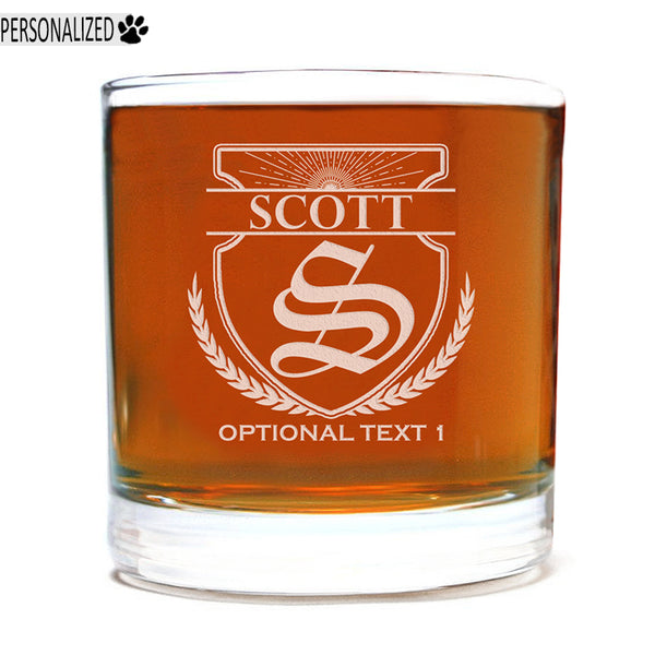 Scott Personalized Etched Whiskey Rocks Glass 11oz