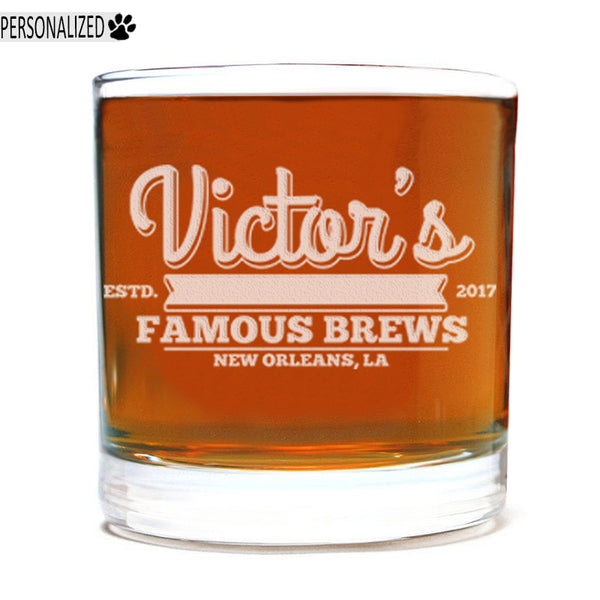 Victor Personalized Etched Whiskey Rocks Glass 11oz