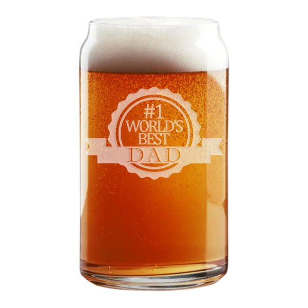 #1 World's Best Dad Etched Beer Can Glass 16oz
