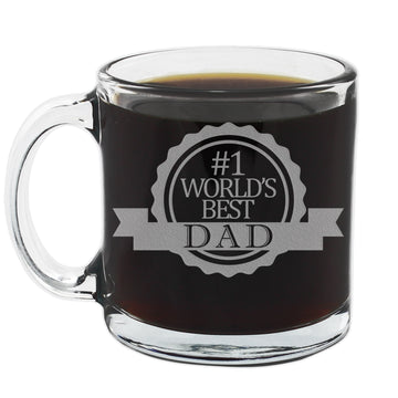 #1 World's Best Dad Etched Glass Coffee Mug 12oz