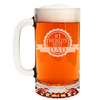 #1 World's Best Dad Etched Glass Beer Mug 16oz