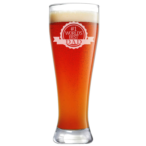 #1 World's Best Dad Etched Pilsner Beer Glass 23oz