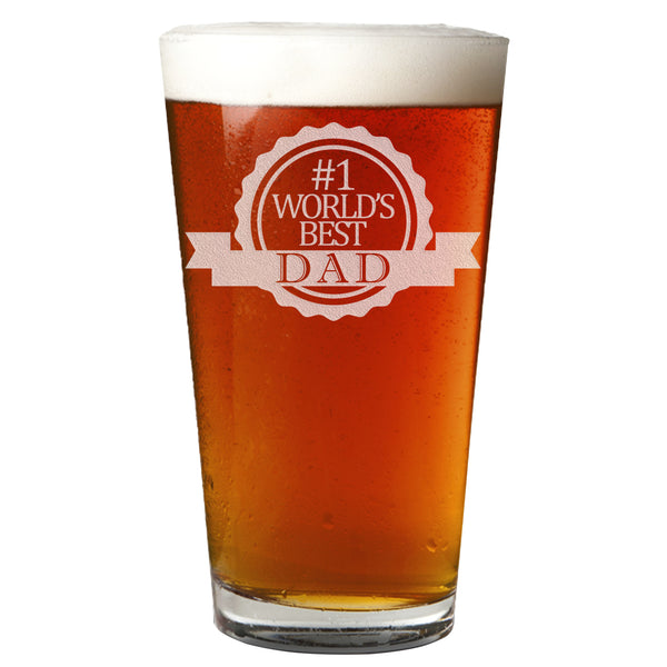 #1 World's Best Dad Etched Pint Glass 16oz