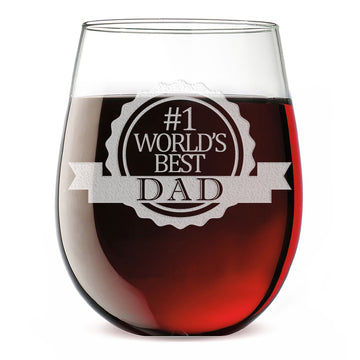 #1 World's Best Dad Etched Stemless Wine Glass