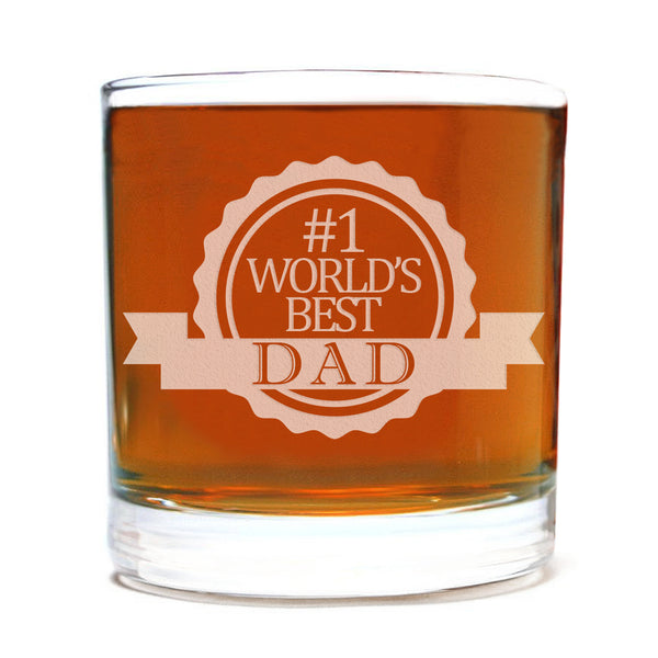 #1 World's Best Dad Etched Whiskey Glass 11oz