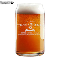 Brandon Personalized Etched Beer Soda Can Glass 16oz