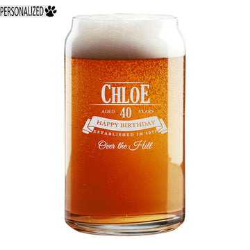 Personalized Etched 16oz Beer Soda Can Glass for Birthday Gifts