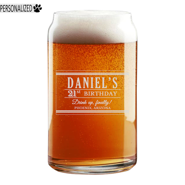 Daniel Personalized Etched Beer Can Glass 16oz