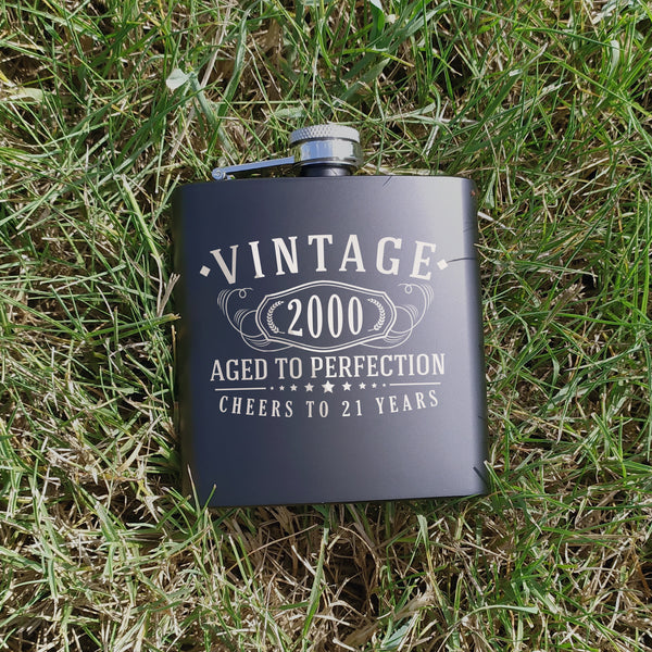 Vintage 2000 Etched 6oz Matte Black Stainless Steel Flask - 21st Birthday Aged to Perfection - 21 years old gifts