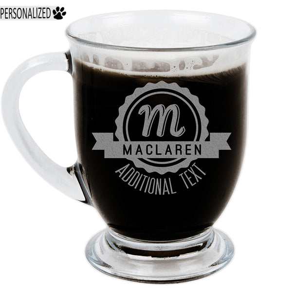 Maclaren Personalized Etched Monogram Cafe Style Glass Coffee Mug 16oz