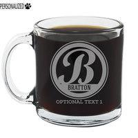 Bratton Personalized Etched Monogram Glass Coffee Mug 12oz