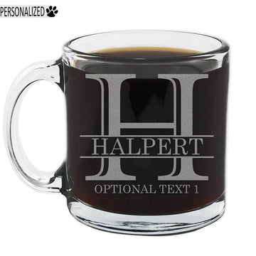 Halpert Personalized Etched Monogram Glass Coffee Mug 12oz