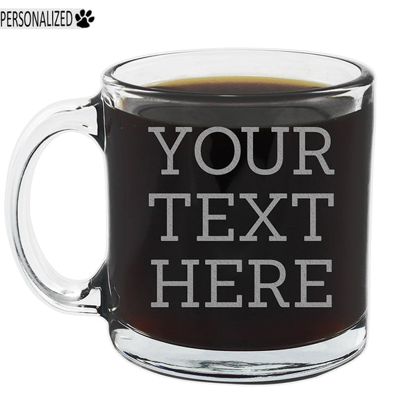 Your Custom Text Personalized Etched Glass Coffee Mug 12oz