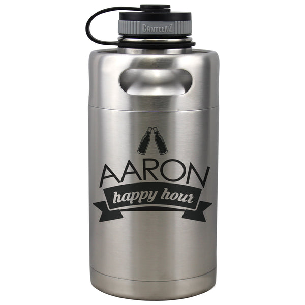 Personalized Etched Insulated Beer Growler 64oz Keg
