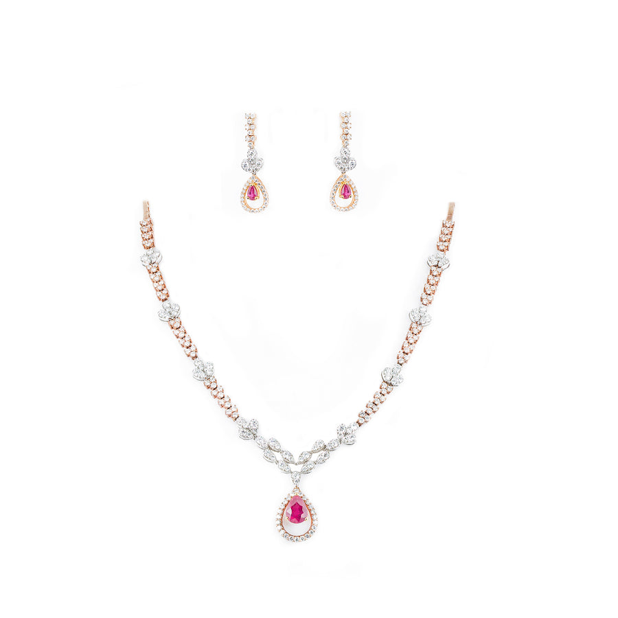 DIAMOND NEKLACE WITH RUBY
