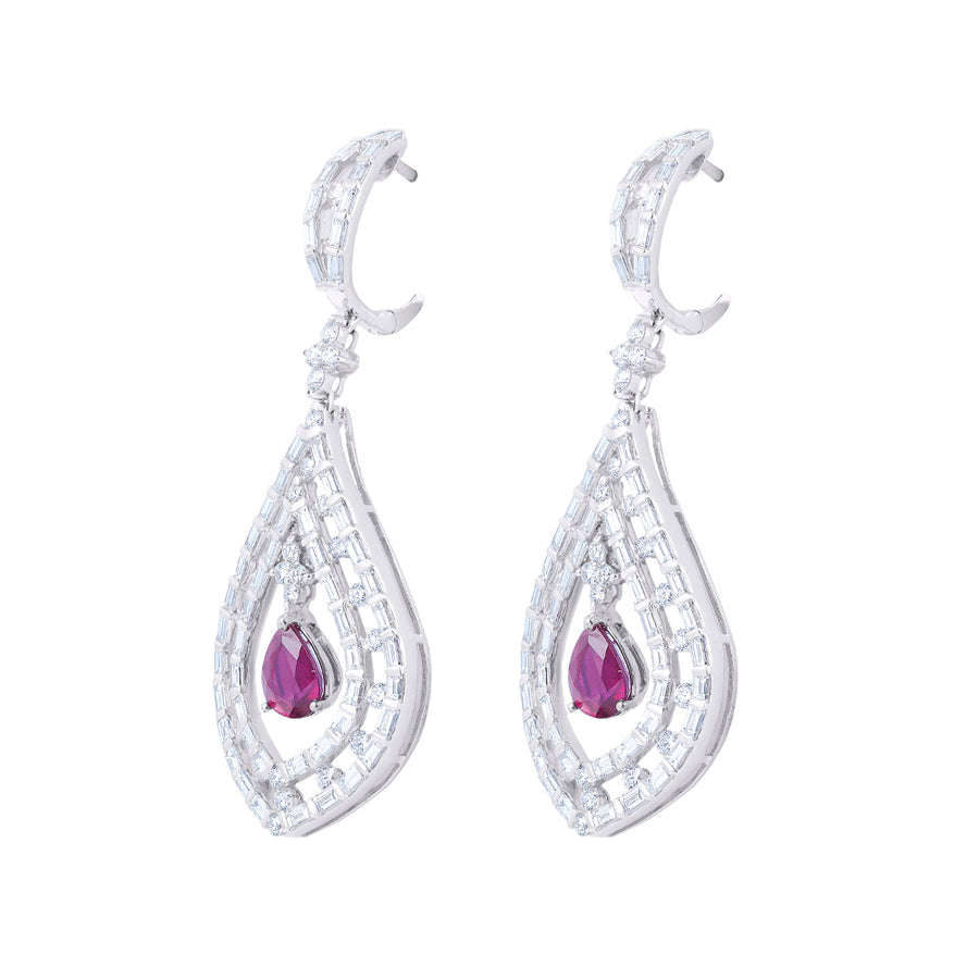 DANGLING DIAMOND EARRINGS IN WHITE GOLD