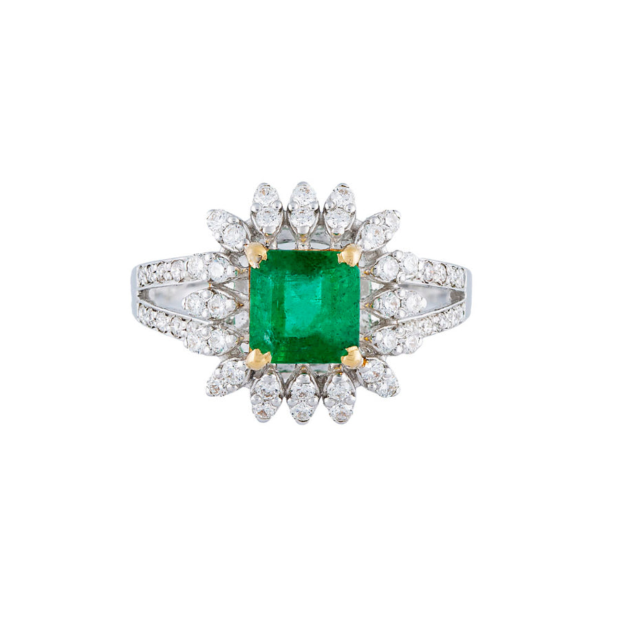 Diamond Emerald Ring Front View