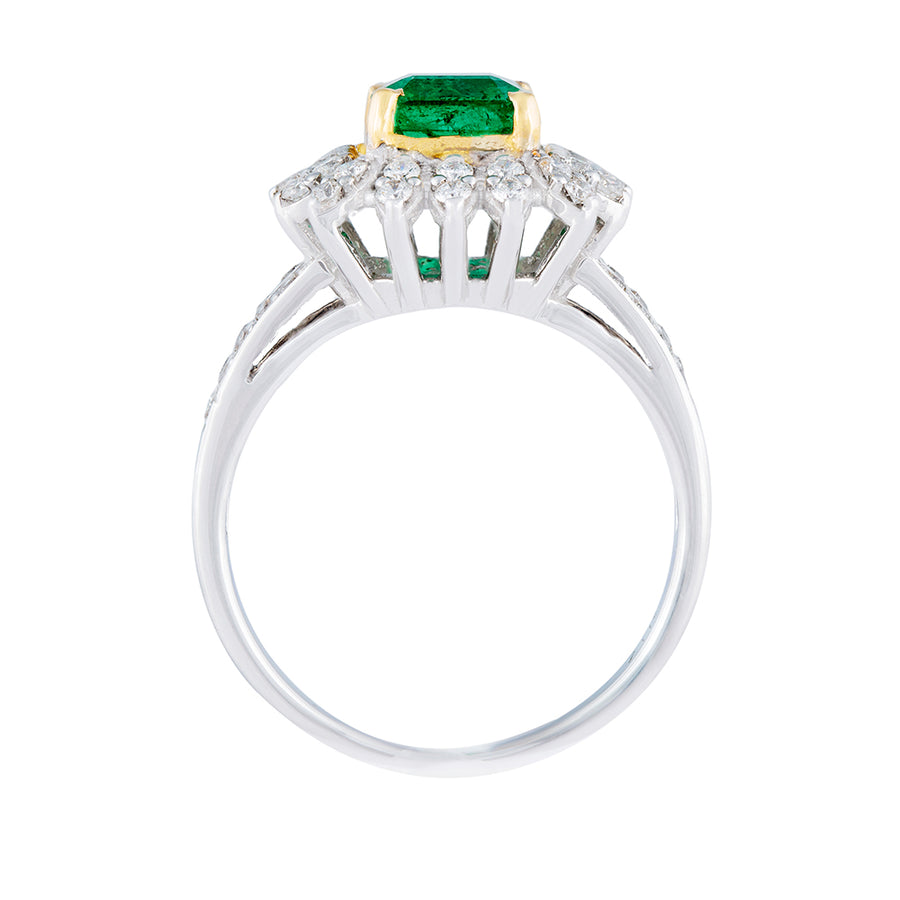 Diamond Emerald Ring Top View