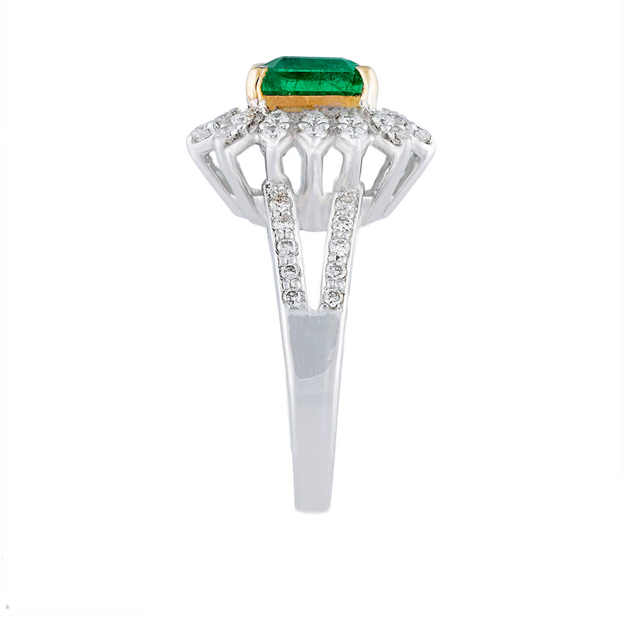 Diamond Emerald Ring Side View