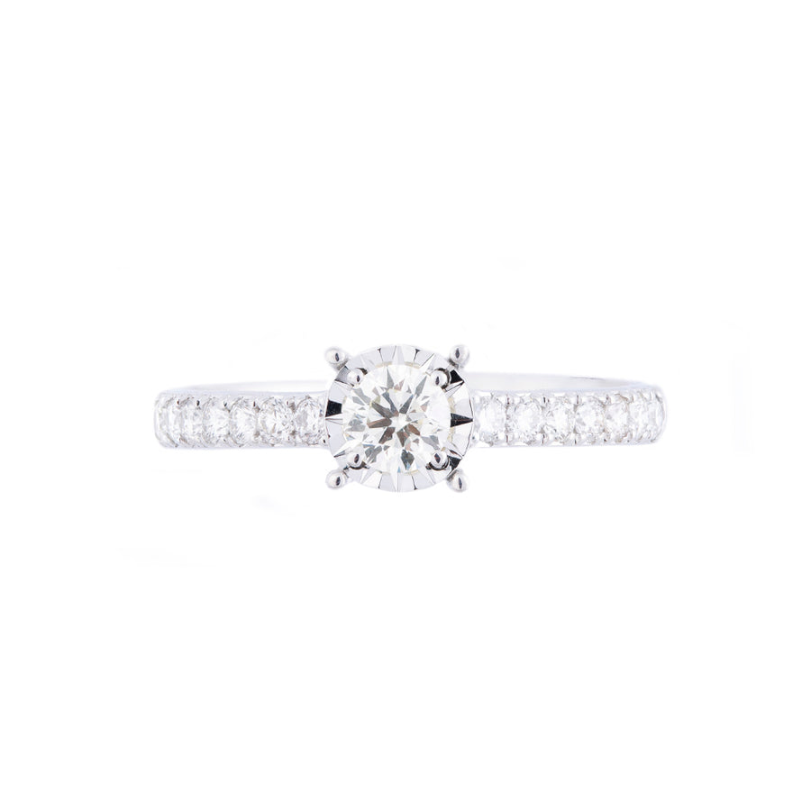 SOLITAIRE DIAMOND RING WITH SHOULDER DIAMONDS