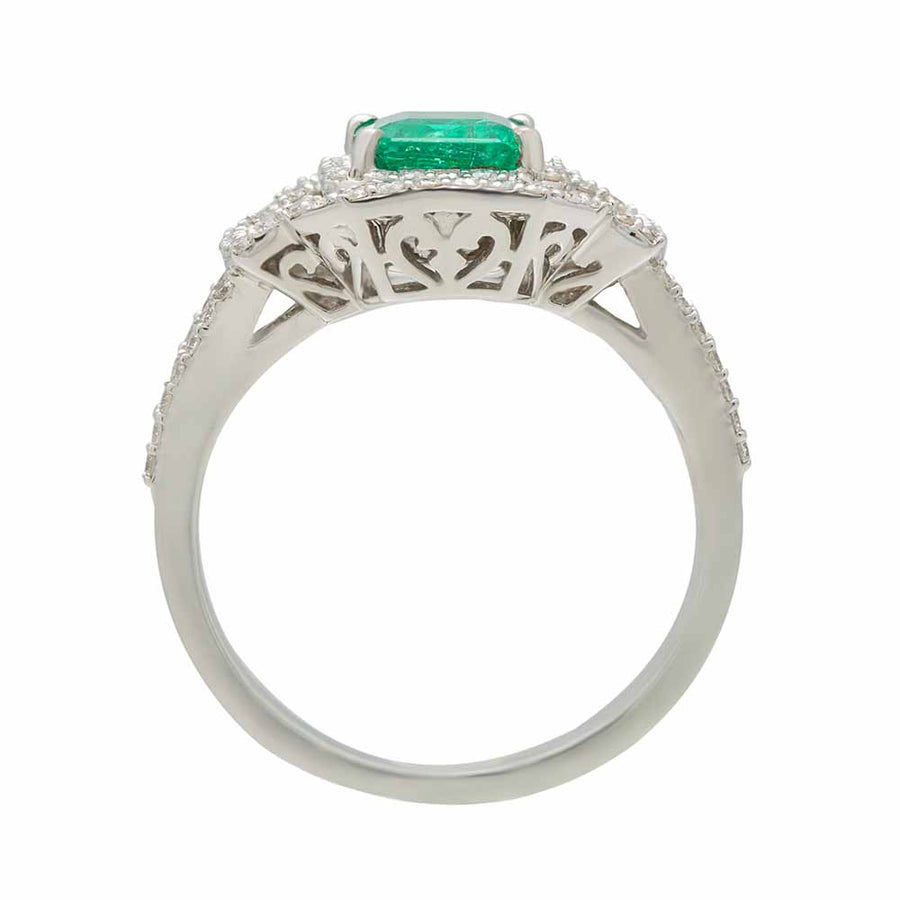 Top View Diamond Emerald Ring