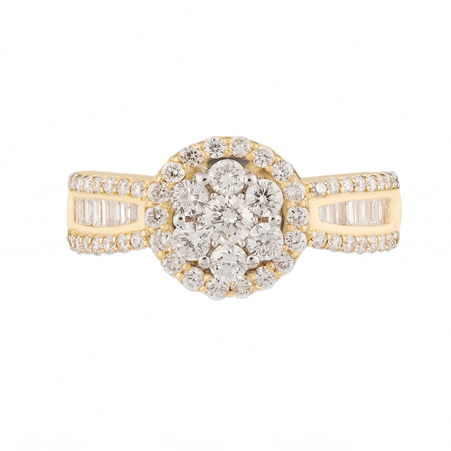 Cluster Set Yellow Gold Diamond Ring