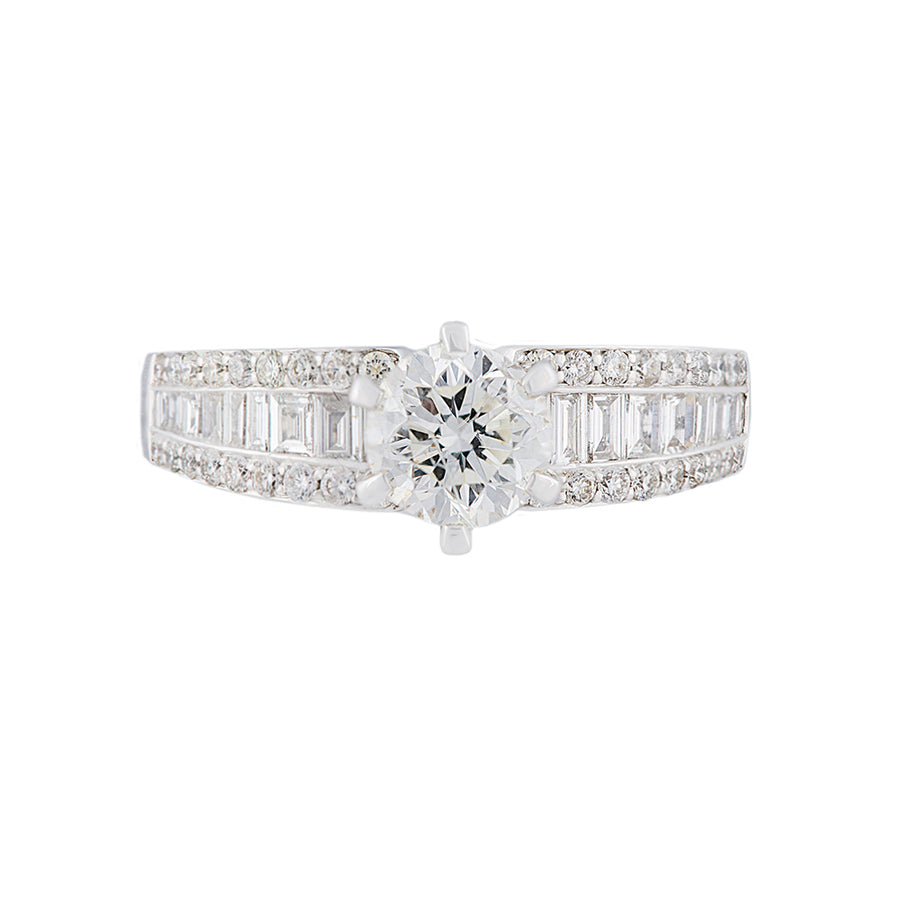 1 Carat Solitaire Diamond Ring With Side Diamonds